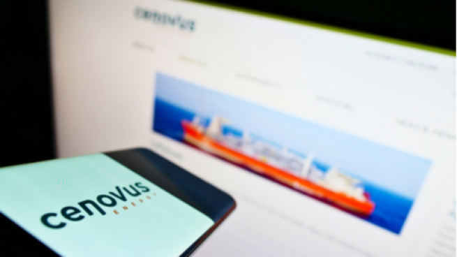 Cenovus logo on a smart phone with website in the background