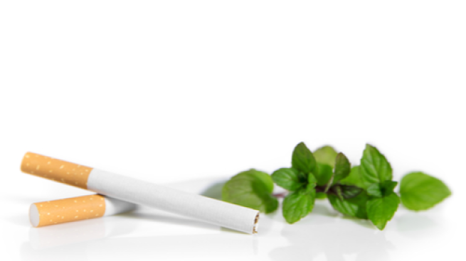 cigarettes with mint leaves