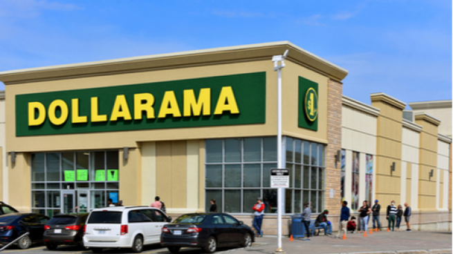 Dollarama outside of store with people lined up.