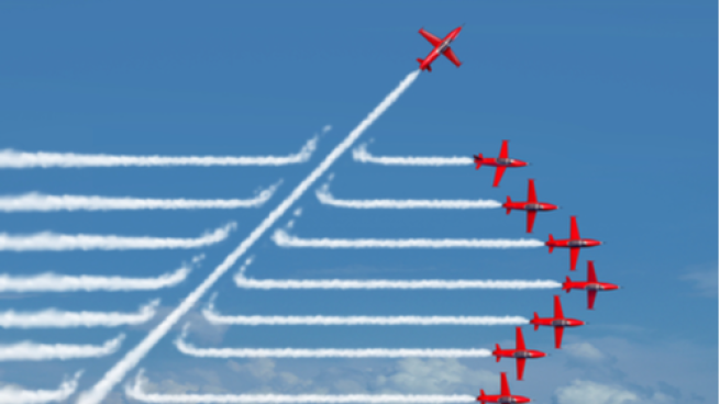 Planes flying with one moving in a new direction
