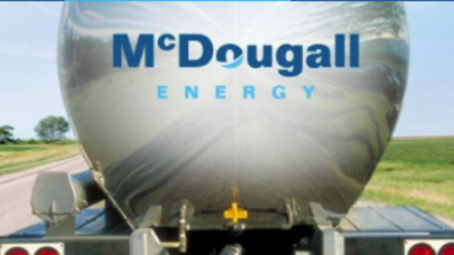 McDougall logo on the back of a fuel truck