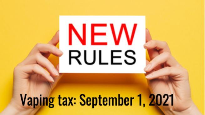 New rules sign indicating new vaping tax Saskatchewan