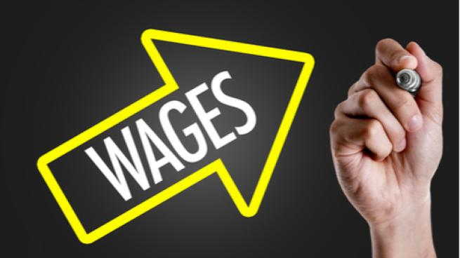 wage with going up arrow