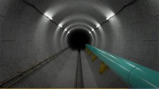 the inside of the Line 5 pipeline