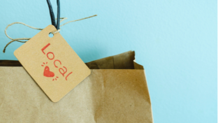 paper shopping bag with Local love tag